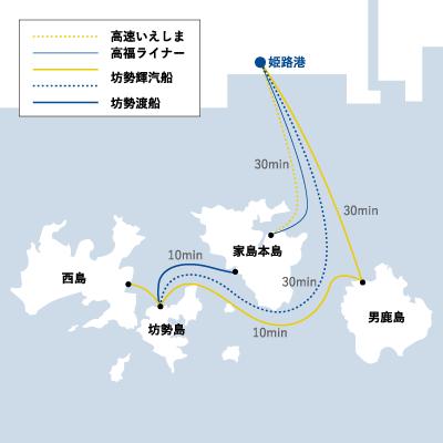 姫路港→坊勢島の地図